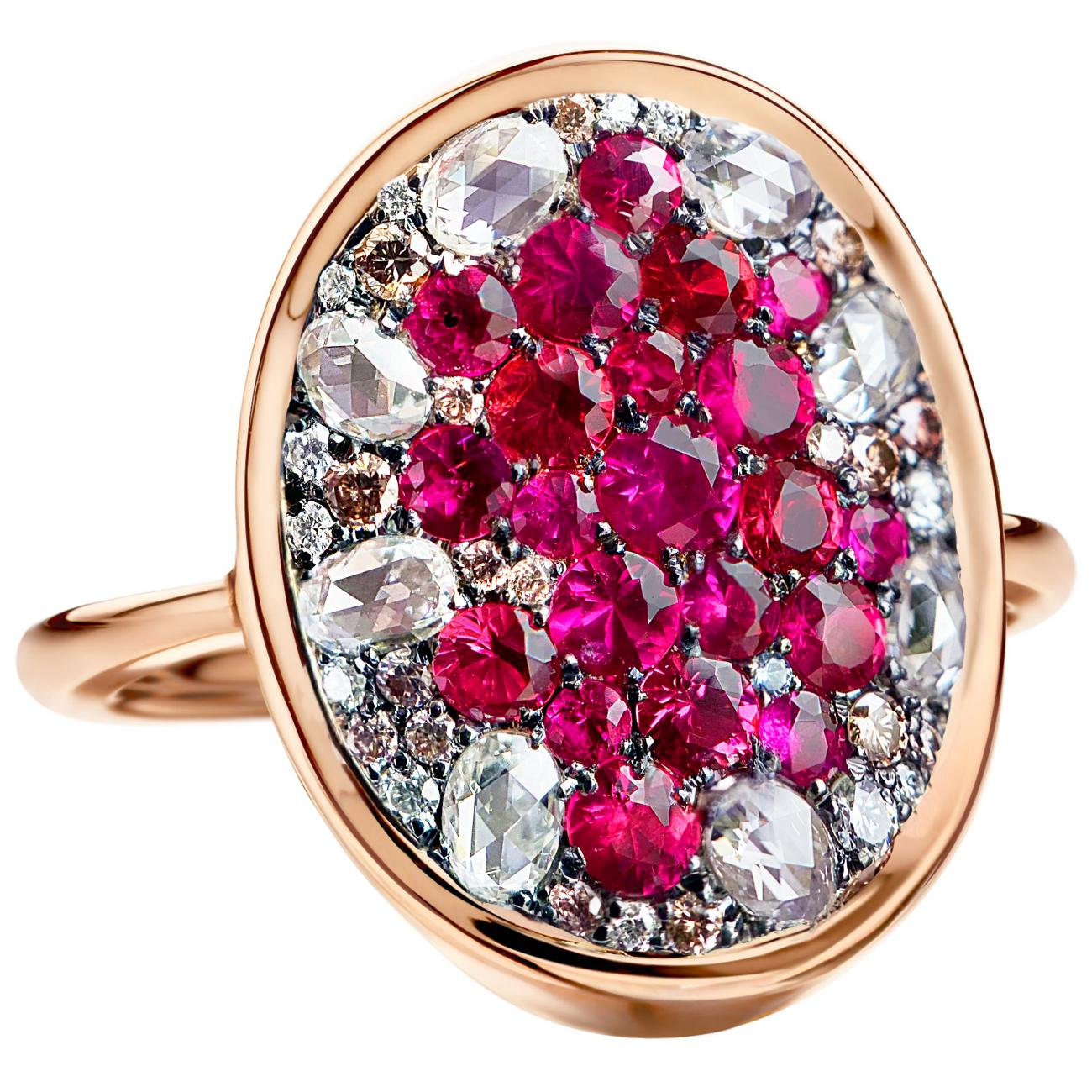 Ruby Red Spinel Diamond Pave Ring