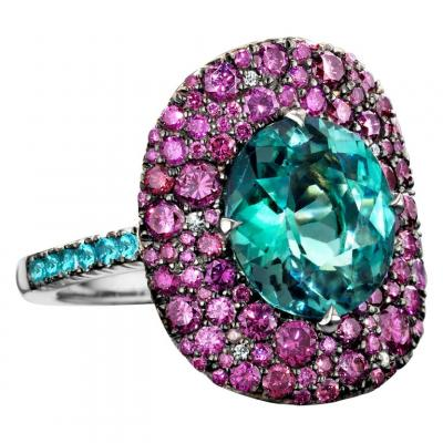 Lagoon Tourmaline, Paraïba Tourmaline Purple Diamond Ring