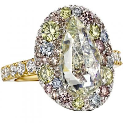 3 ct Rose-Cut Fancy Diamond Ring